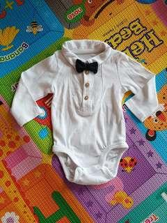 H&M long sleeve Baby romper with bow tie Size 1-2M