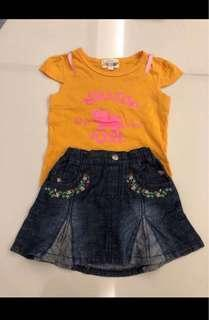 giordano junior jean skirt set (size 100 suitable for 3-5 years oldJ