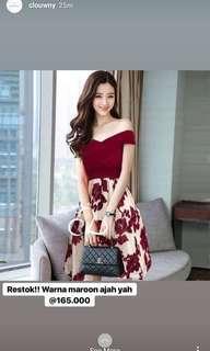 Maroon flower dress