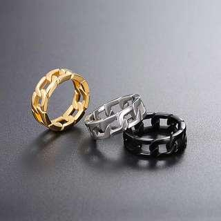 [SALES]🔱3 COLORS CUBAN LINK BAND RING STAINLESS STEEL CURB MEN RING MEN FASHION JEWLERY🔱