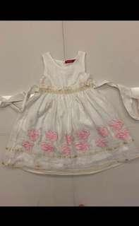 Embroidery pink flower white dress (4 years old)