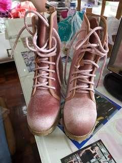 Velvet Combat Boots Pink
