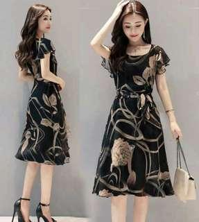 Office dress outdoor dress casual floral dress for female adult fits l xl xxl size