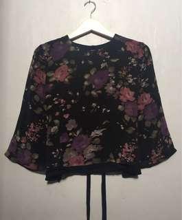 Cropped Black Flower Blouse