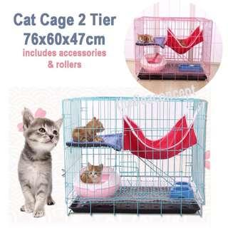 Kitten/Cat Cage 2 Tier with Accessories (ref: 2 tier / 3 tier /4 tier / litter tray / bowl/ bed/ cushion)