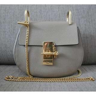 67d32be7a Authentic Chloe Drew Mini Bag Grained Lambskin Motty Grey