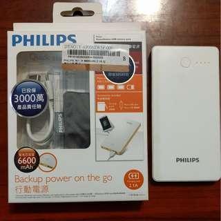PHILIPS 飛利浦 6600mAh 2.1A 超薄型 DLP6603 行動電源