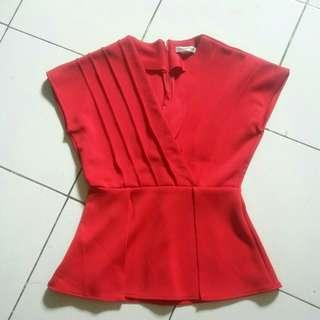 Blouse Merah Peplum