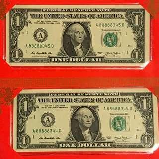 Auspicious 5 8s lucky US$1