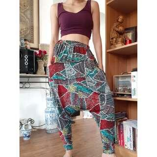 Purple Branded Croptop and Abstract Harem Pants