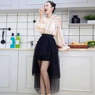 pleated blouse with mesh dress