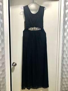 Long Black Dress with Jeweled Waistband