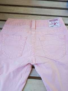 True Religion pale pink jean. Size 25. Low rise.