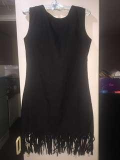 Black Sleeveless Dress with Fringe Hemline