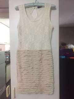 White Lace and Beige Chiffon Dress
