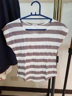 White and gray striped top