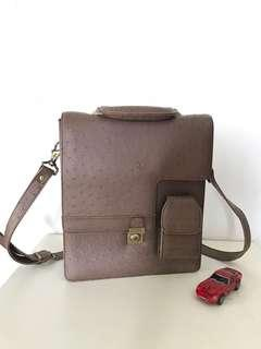 Ostrich leather sling bag