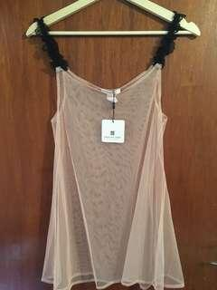 Pleasure State Nude Sheer Chemise | Size Small