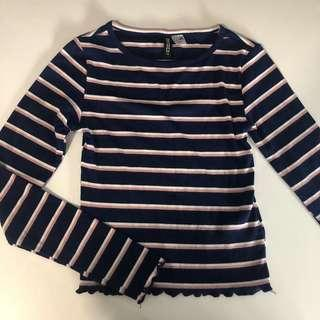 HM DIVIDED STRIPED BLUE/PINK/WHITE CROP LONG SLEEVE SIZE EXTRA SMALL