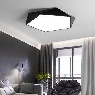 🚚 轉售臥房 led 18w吸頂燈 黑色天花板燈 黑色 幾何 吸頂燈