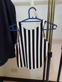 Vertical striped black and white top