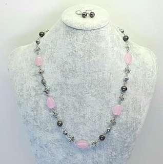 Set of Olena Pink Jade Long Necklace and Dangling Earrings #cnyga