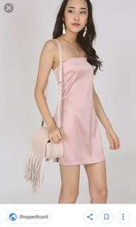 MDS XS satin silky pink dress