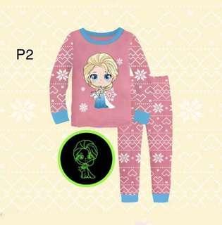 🚚 Kid's Pyjamas glow in the dark Elsa Tsum pony pyjamas set