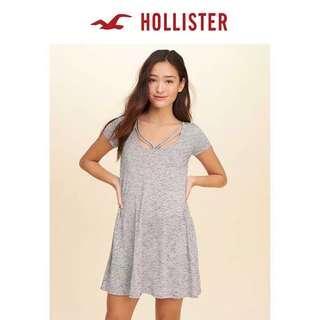 Hollister新款細帶Tshirt女連身裙HCO gray dress A&F Abercrombie & Fitch AF AEO