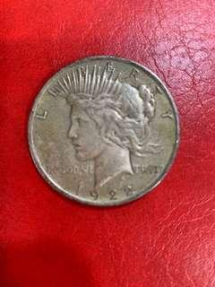 1922年美國一元銀幣,售:170元