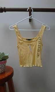 cutest 90s lettuce hem ribbed tank tops size 6 xxs