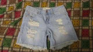 Garage light wash ripped shorts size 0