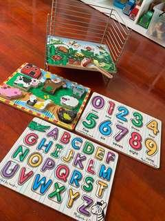 Melissa and Doug puzzles with organiser