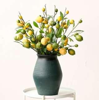 Summer / Spring Kitchen Table Arrangement Faux Lemon Cut Stalk