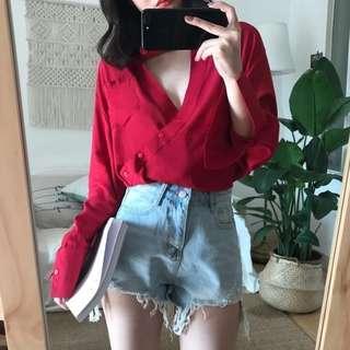 #CNY888 Red V Neck Collar Shirt (READY STOCK)