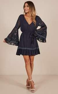 """Showpo """"Grow and Behold """" Navy Dress - Size 18"""
