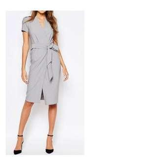 Alter Tall Short Sleeve Wrap Front Dress With Tie Waist And Button Detai, BRAND NEW