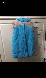Baby blue jacket detachable hood粉藍拼色背心外套 帽可拆