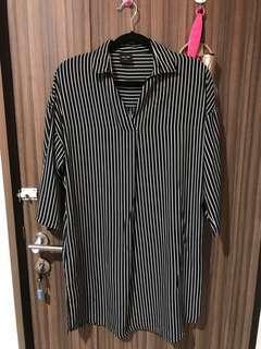 New this is april black n white stripes midi dress