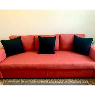Three-seat sofa-bed, Skiftebo dark orange