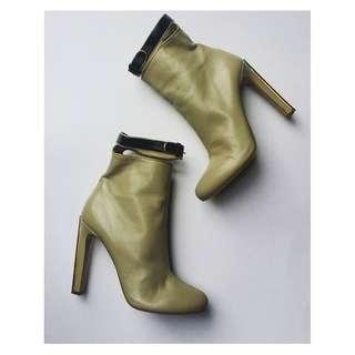 MIU MIU ankle boots high heels moss green-ish beige gold leather