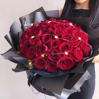 🚚Vday Flower| 52 roses | 99 roses | Fresh flower bouquet | Valentines day flower bouquet | Anniversary Gift | 情人节花束 |玫瑰花 |99玫瑰 |鲜花快递