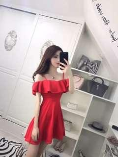#CNY888 Red Strap Off Shoulder Dress (READY STOCK)