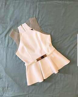 Doublewoot White Peplum Top