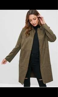 Size L - ZAFUL faux suede jacket in army green