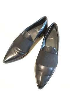 Stuart Weitzman black leather loafers flats shoes 黑色真皮平底鞋