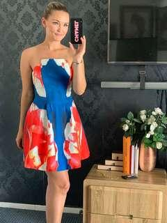 Fit and flare dress blue red white