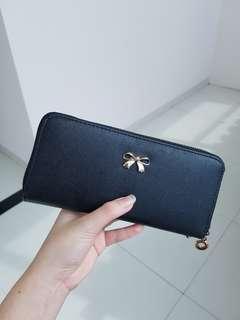 Dompet panjang wallet hitam pita ribbon black