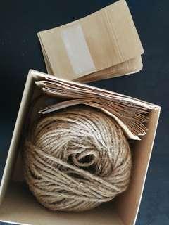 80 small Kraft bags & rattan string