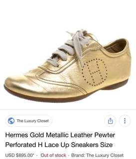 HERMES Gold Mettalic Pewter Perforated H Lace Up Sneakers